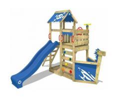 WICKEY Parco giochi in legno SpookyFlyer Giochi da giardino con scivolo blu Casetta da gioco per