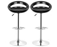 2 pezzi Sgabelli da bar Sedia da pranzo con poggiapiedi 360°Mobili orientabile regolabile 59-80cm