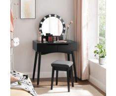 Toletta, Tavolo da Trucco con Specchio e Lampadine per Il Make Up, Sgabello Imbottito e 2 Ampi