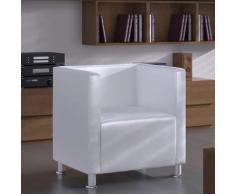 Poltrona con Design a Cubo in Pelle Artificiale Bianca