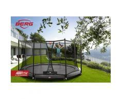 SOLO TRAMPOLINO Tappeto elastico da giardino rotondo 380cm – grigio. Rete con ingresso a chiusura