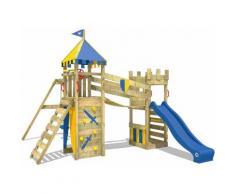 WICKEY Parco giochi in legno Smart Fort Giochi da giardino con altalena e scivolo blu Torre