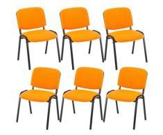 Set 6x Sedie Ufficio Ken In Tessuto Arancione