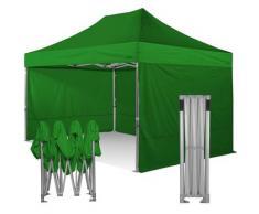 Gazebo pieghevole 3x4,5 verde Exa 55mm alluminio con laterali PVC 350g