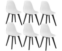 [en.casa] - Sedie per Sala da Pranzo Design 83 x 54 x 48 cm Set di 6 Pezzi Plastica Bianco/Nero