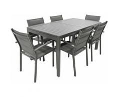 Set Tavolo E 6 Sedie Da Giardino In Alluminio E Textilene Taupe