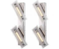 Set di 2 Lampade da parete a LED design Illuminazione per sala da pranzo Chrome Glow Glass Faretto