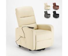 Poltrona relax elettrica reclinabile alzapersona con ruote in similpelle Elizabeth II   Colore: