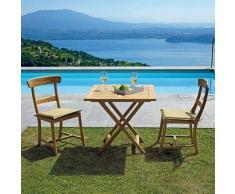Set 4 Sedie da Giardino in Legno Teak Sedie per Interni ed Esterni Complete di Cuscino Seduta