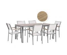 Set tavolo da giardino effetto legno 180 cm e 6 sedie tessuto bianco GROSSETO