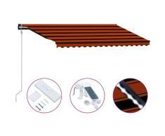 Tenda da Sole Retrattile Sensore LED 450x300 cm Arancio Marrone - Arancione - Vidaxl