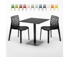 Tavolino Quadrato Nero 70x70 cm con 2 Sedie Colorate GRUVYER KIWI | Nero