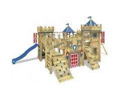 WICKEY Parco giochi in legno The Golden Goat Giochi da giardino con altalena e scivolo blu Torre