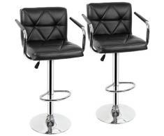 Sedia da bar 2 * con braccioli, regolabile in altezza, girevole a 360 ° con schienale nero