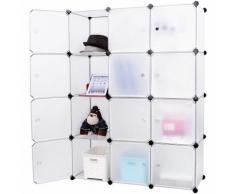 Armadio Guardaroba Modulare 12 Cubi 112x37x148 Cm Rizzetti Bianco