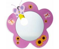 Lampada da specchio a parete per bambini, lampada per bambina, design floreale, rosa in un set con