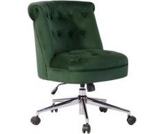 Poltrona sedia Scrivania Ufficio Girevole Tessuto Velluto Design Moderno Verde