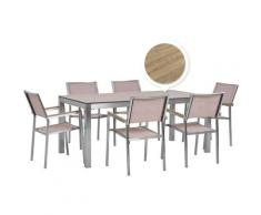 Set tavolo da giardino effetto legno 180 cm e 6 sedie tessuto beige GROSSETO