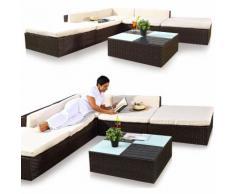 suite lounge suite poltrona divano mobili da giardino marrone 16 pz PolyRattan