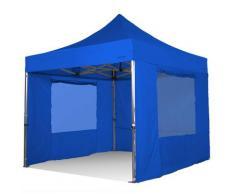 Gazebo pieghevole 3x3 blu Exa 55mm alluminio con finestre PVC 350g