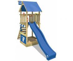 WICKEY Parco giochi in legno Smart Club Giochi da giardino con scivolo blu Torre d'arrampicata da