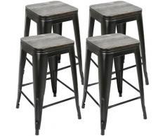 Sgabello alto,seggiolone con seduta,un set di 4 pcs,nero,76,5 * 42,5 * 42,5 cm