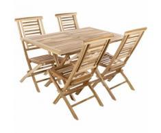 PrimeMatik - Set di tavolo 135 x 85 cm e 4 sedie per giardino esterno in legno di teak certificato