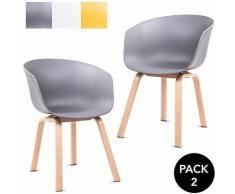 Pack 2 sedie da pranzo grigio da sala da pranzo cucina a tulipano design nordico con braccioli