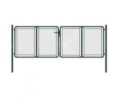 Cancello di Recinzione per Giardino in Acciaio 300x75 cm Verde - Verde - Vidaxl