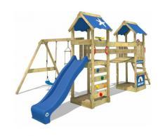 WICKEY Parco giochi in legno SunFlyer Giochi da giardino con altalena e scivolo blu Torre