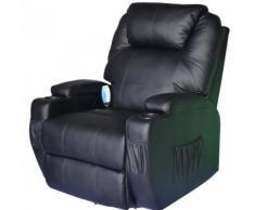 Poltrona relax massaggiante riscaldabile in ecopelle nero