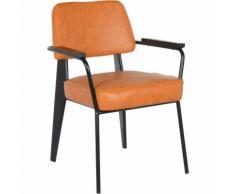 SKLUM Sedia da pranzo con braccioli imbottita in ecopelle Glop Similpelle- Acciaio Arancione