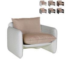 Poltrona lounge design moderno Slide Mara trama cuoio interno esterno | Colore: Bianco
