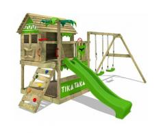 FATMOOSE Parco giochi in legno TikaTaka Giochi da giardino con altalena e scivolo mela verde Casa