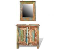 Armadietto in Legno di recupero solido per Bagno con Specchio - Multicolore