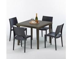 Tavolino Quadrato Marrone 90x90 cm con 4 Sedie Colorate Brown Passion   Paris Nero Antracite