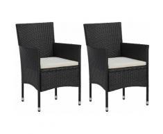 Sedie da Pranzo per Giardino 2 Pz in Polyrattan Nero Modello 1 - Nero - Vidaxl