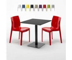 Tavolino Quadrato Nero 70x70 cm con 2 Sedie Colorate ICE KIWI | Rosso
