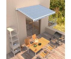 vidaXL Tenda da Sole Retrattile Manuale 350x250 cm Blu e Bianca - Blu