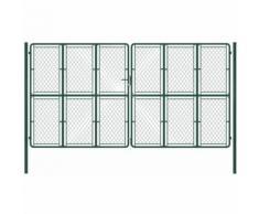 Cancello di Recinzione per Giardino in Acciaio 400x200 cm Verde VD34874 - Hommoo