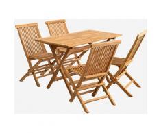 Set da giardino pieghevole con tavolo rettangolare e 4 sedie in legno di teak Pira Legno di Teak