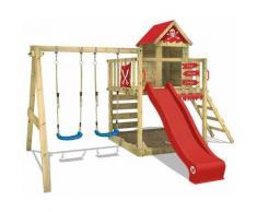 WICKEY Parco giochi in legno Smart Cave Giochi da giardino con altalena e scivolo rosso Casetta da