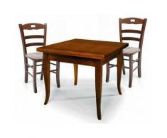 Set Tavolo quadrato allungabile + Sedie Rochelle seduta massello Noce | 90 x 90 - Dimensione