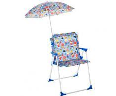 Outsunny Sedia Pieghevole per Bambini con Ombrello Parasole per Giardino Spiaggia Campeggio,