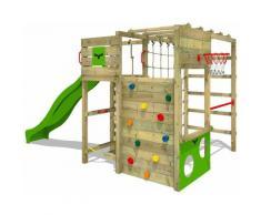 FATMOOSE Parco giochi in legno FitFrame Giochi da giardino con scivolo mela verde Scala svedese,