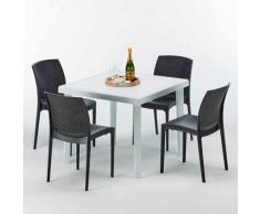 Tavolino Quadrato Bianco 90x90 cm con 4 Sedie Colorate Bohème Love   Nero