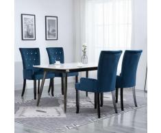 YOUTHUP Sedia da Pranzo con Braccioli 4 pz in Velluto Blu Scuro - Blu