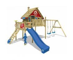 WICKEY Parco giochi in legno Smart Bay Giochi da giardino con altalena e scivolo blu Casa su