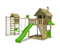 FATMOOSE Parco giochi in legno GroovyGarden Giochi da giardino con altalena TowerSwing e scivolo