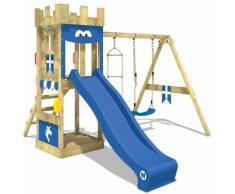 WICKEY Parco giochi in legno KnightFlyer Giochi da giardino con altalena e scivolo blu Torre